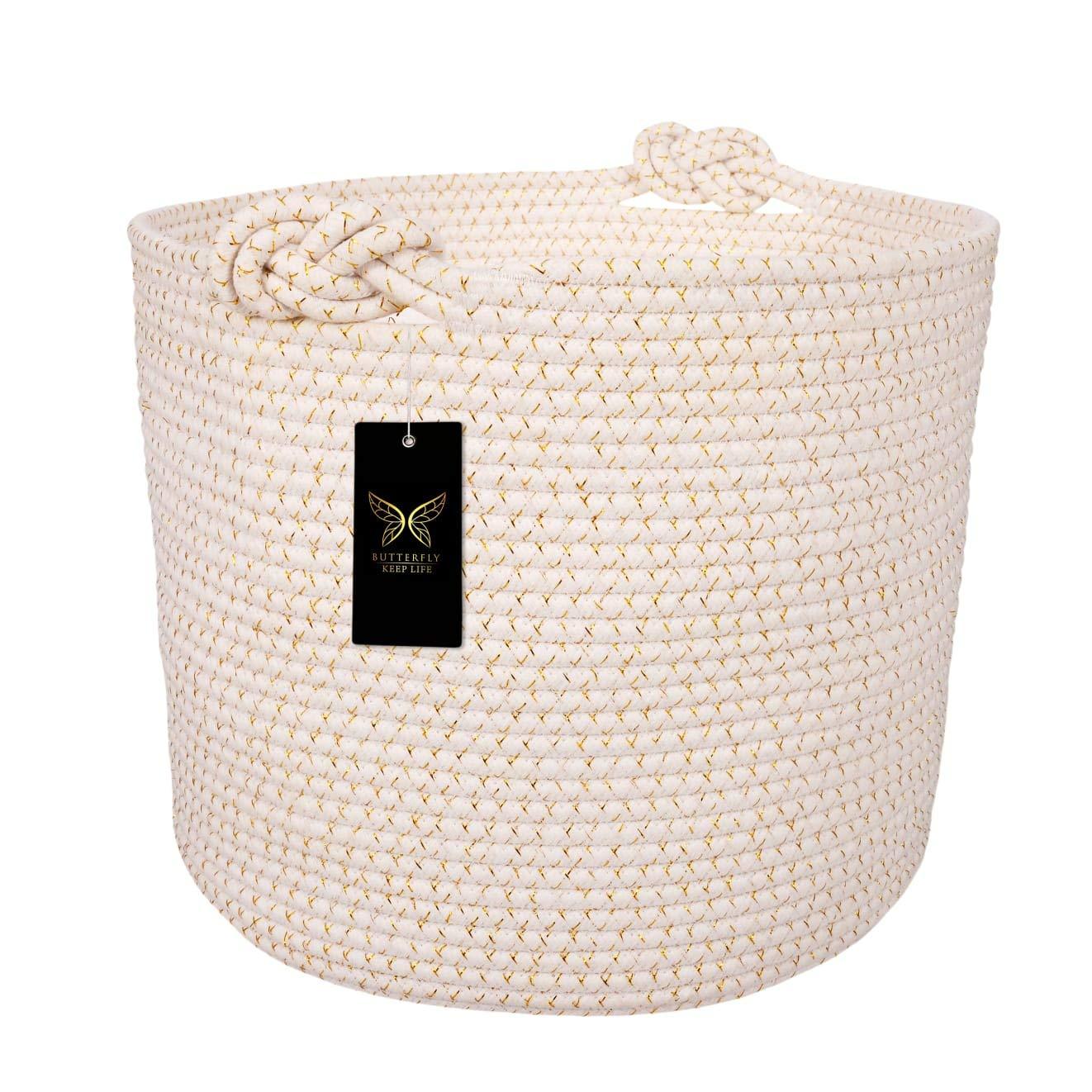 "Woven Cotton Rope Storage Basket | Decorative, Elegant & Durable Laundry Hamper | Ergonomic & Multipurpose White Blanket Bin | Stylish & Practical Nursery Organizer | Great Gift Idea - 15""x 15''x 13"""