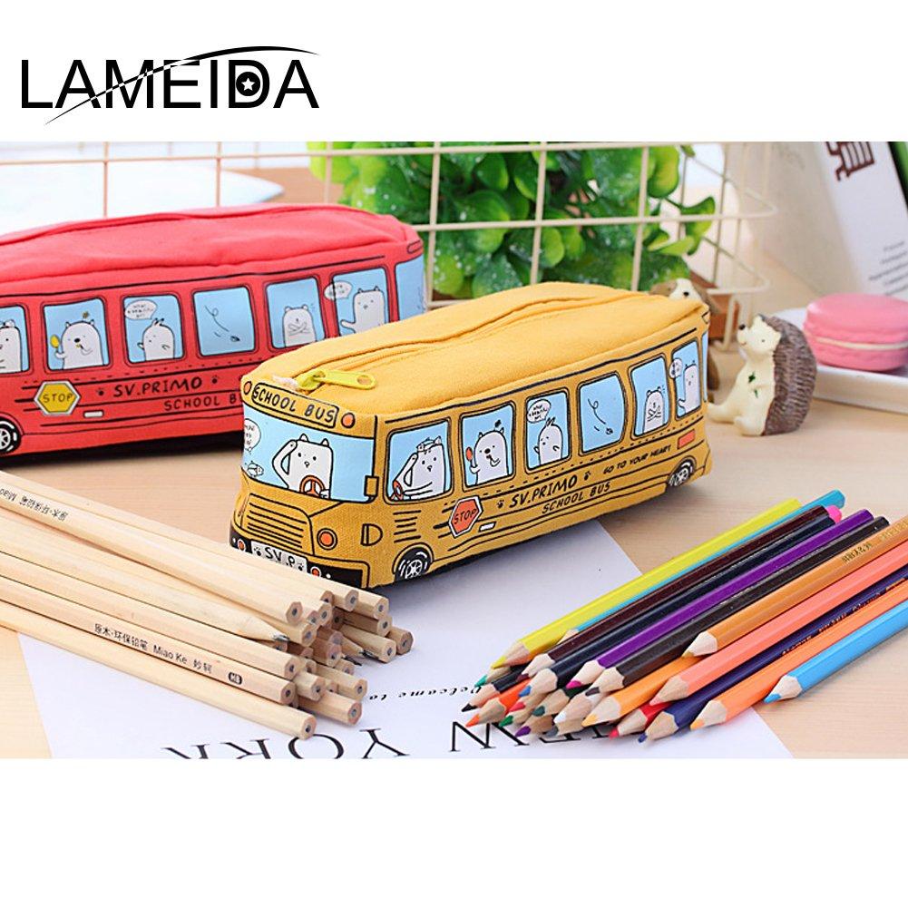 LAMEIDA Estuche Escolar Grande Capacidad para Niños Bolsa de Lapices Bolso de Papelería de Lona Azul Amarillo Naranja y Rojo Juguete de Autobús para ...