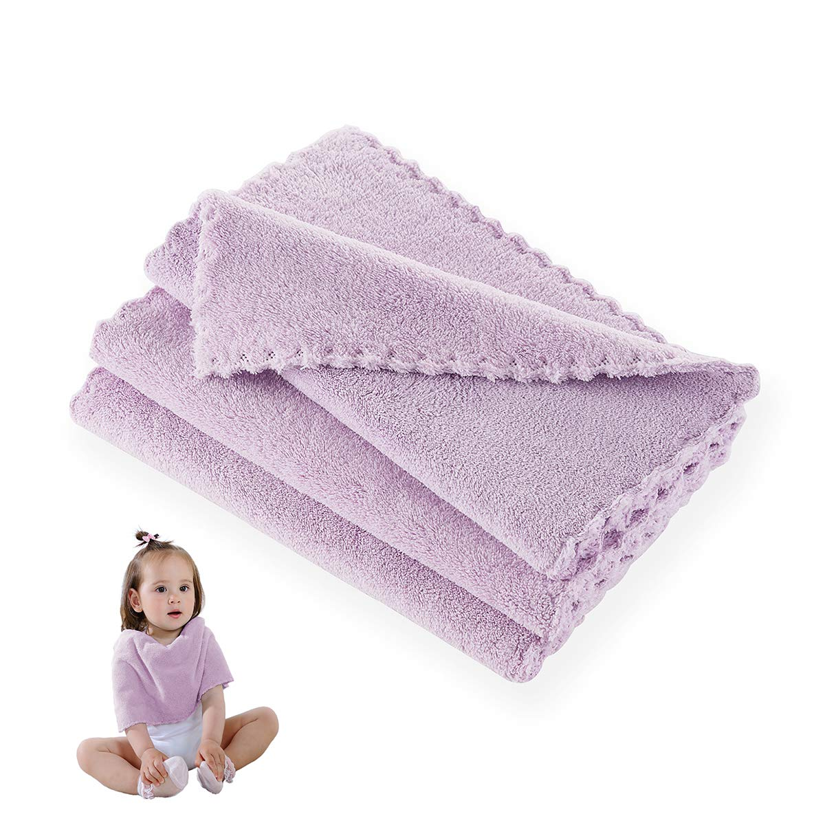 Hand Towel, Baby Washcloth Wipes, Extremely Soft & Absorbent, Extra Durable & Hypoallergenic, 3 Pack Set, 10 x 20 Inches, Perfect Cloth for Sensitive Skin of All Age -- Light Purple by Xinrjojo