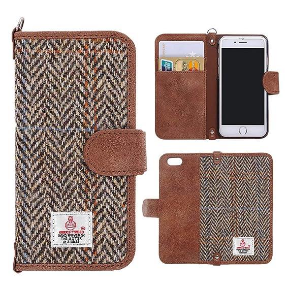 7b4beaf62895 Harris Tweed iPhone 7 Plus, iPhone 8 Plus Wallet Case Cover MONOJOY  Handmade Retro Flip