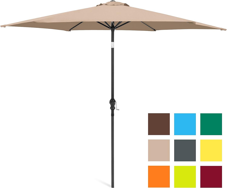 Best Choice Products 10ft Outdoor Steel Market Backyard Garden Patio Umbrella w Crank, Easy Push Button Tilt, 6 Ribs, Table Compatible – Tan