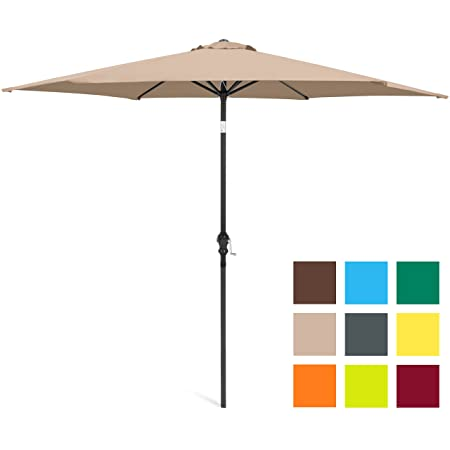Best Choice Products 10ft Outdoor Steel Market Backyard Garden Patio Umbrella w Crank, Easy Push Button Tilt, 6 Ribs, Table Compatible – Tan