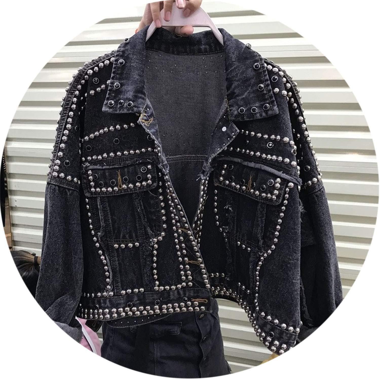 Black grey The fairy Rivet Diamonds Beading Denim Jacket Single Breasted Coat