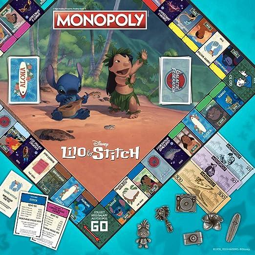 Monopoly Disney Lilo & Stitch Juego de Mesa   Basado en la película Animada de Disney Lilo y Stitch   Juego de Mesa Coleccionable Monopoly: Amazon.es: Juguetes y juegos