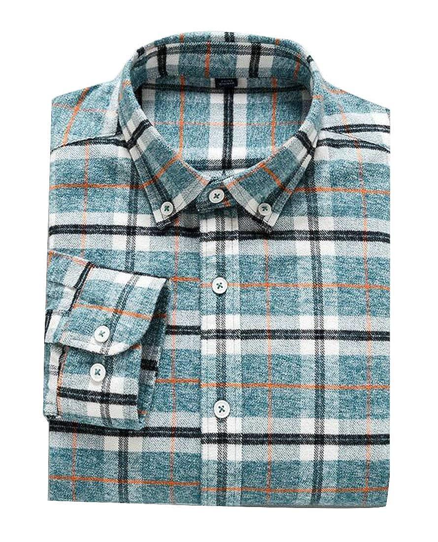 Domple Men Plaid Print Cotton Button Down Custom Fit Long Sleeve Shirt
