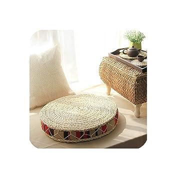 Amazon.com: Cojín redondo de paja natural para sentarse o ...