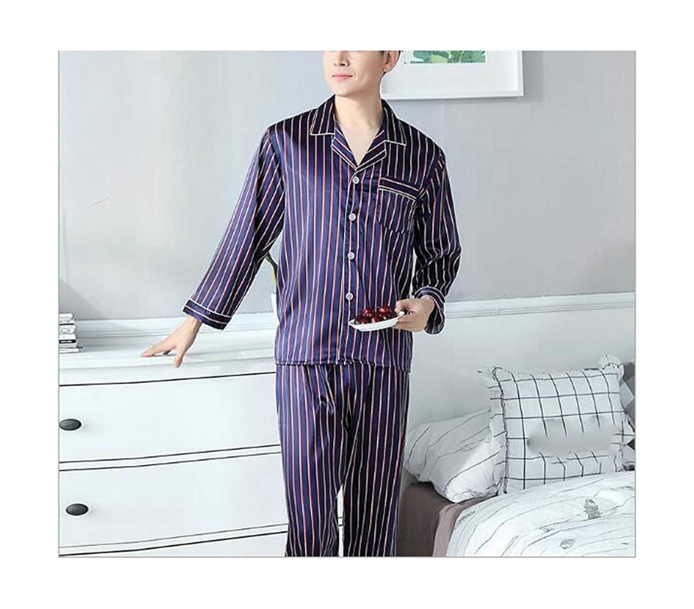 bluee 3 man Dersimio Plus Size Couple Pajamas Spring Autumn Striped Sleeping Clothes Sexy Silk Pyjamas Sleepwear Sets