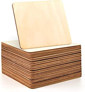Coopay 40 PCS 6 inches Unfinished Wood Squares Natural Wood Slices Wooden Square Cutouts for Painting Writing Carving DIY Supplies, and Home Decorations