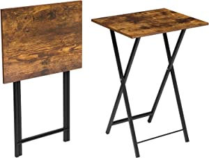 HOOBRO TV Trays, Set of 2 TV Tables, Folding Snack Tray Table, Portable Laptop Table for Small Space, Industrial Sofaside Table for Eating in Living Room Bedroom Space Saver, Rustic Brown BF18BZP201