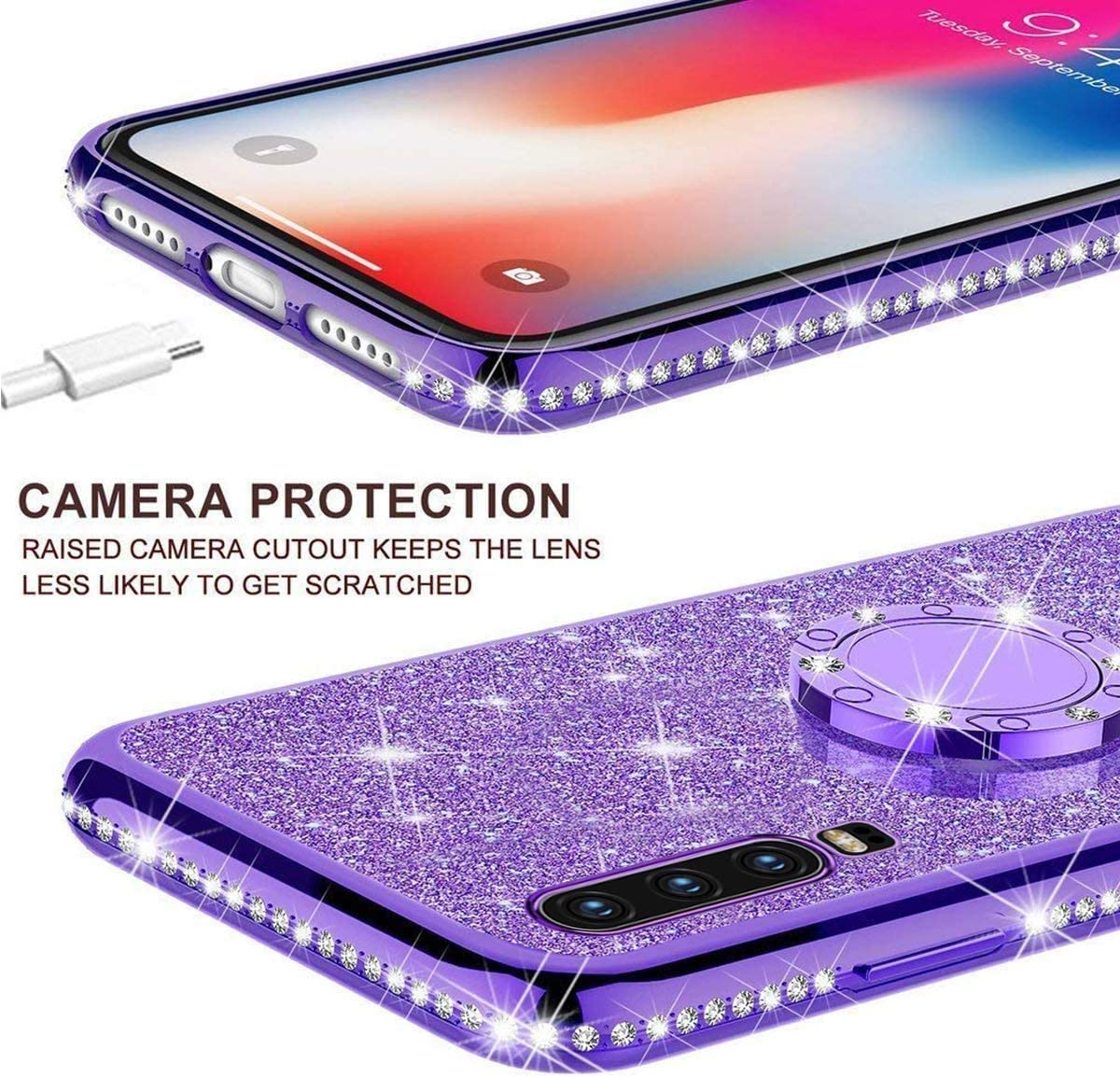 Felfy Kompatibel mit Huawei P30 Glitzer H/ülle,Kompatibel mit Huawei P30 Case Silikon Bling Sparkle Gl/änzend Pailletten TPU Bumper Schutzh/ülle Ultra Schlank Handytasche Handyh/ülle,Gold