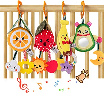 tumama 4 Pack Hanging Fruit Rattles Baby Toys,Avocado,Banana,Orange and Strawberry Baby Stroller Cot Crib Toy,Plush Soft Rattle with Teethers for 3 6 9 12 Months Boys and Girls Birthday Gifts