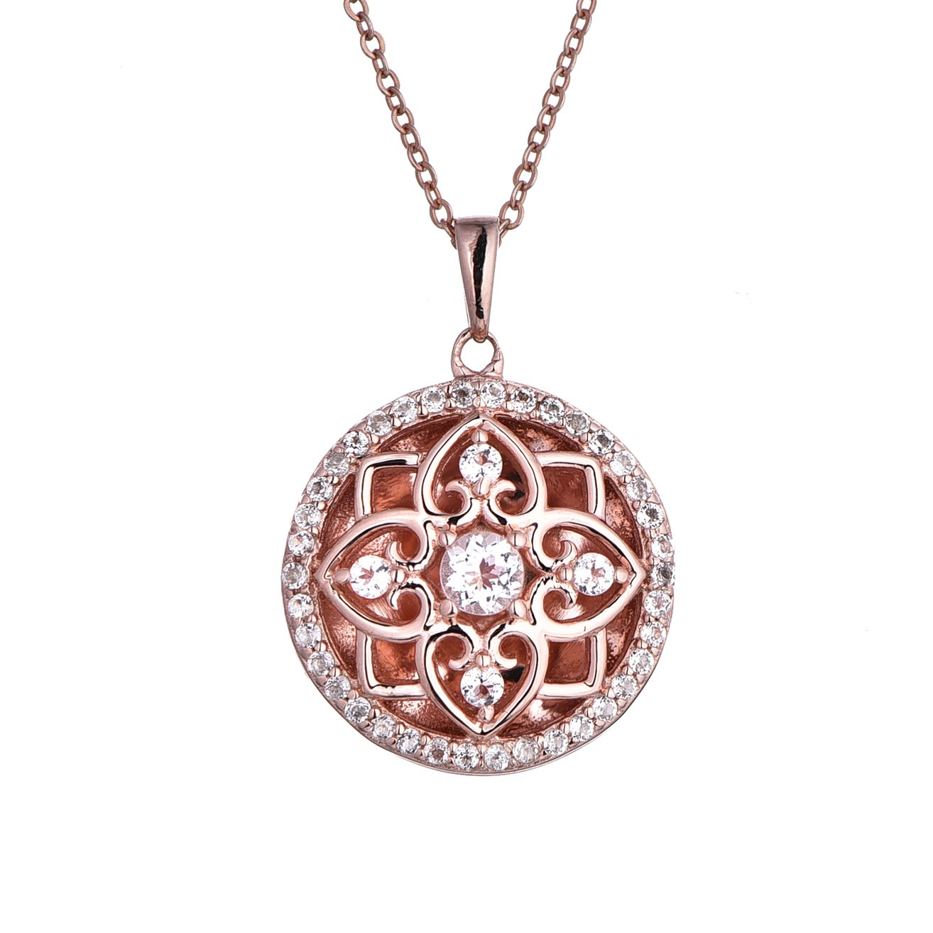 With You Lockets Rose Gold-White Topaz-Round-Custom Photo Locket Necklace-18inch chain-The Elsie