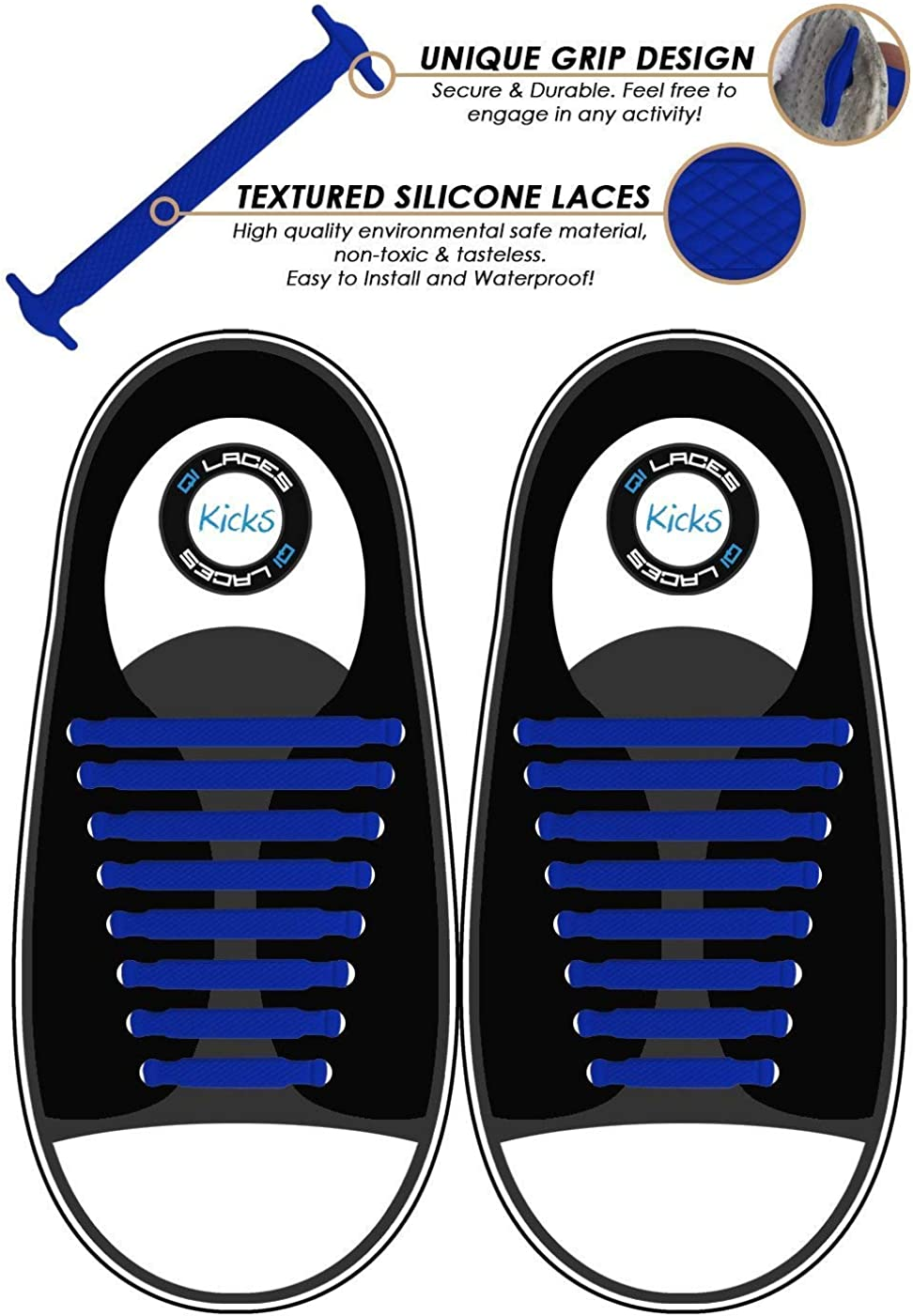 Comfy Slip On No Tie Shoelaces for Kids /& Adults Elastic /& Silicone Shoe Laces to Replace Your Shoe Strings Makes Any Sneaker a Quick