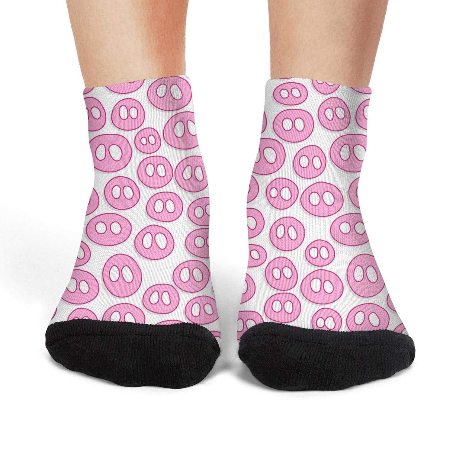 Mens low cut athletic Ankle sock Cute Pink Pig Nose With Happy New Year Fit Short Sock