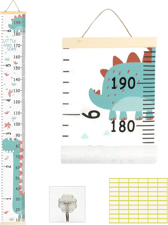 Matogle Tabla de Crecimiento Infantil Gráfica de Altura para Niños Niñas Bebés Regla Medidora Madera Animal Dinosaurio Colgar en la Pared Extraíble Decorar Dormitorio Guardería Escuela Medir Estatura
