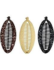Set of 3 Fashion Banana Hair Clips Round 5 inch Hair Claw - Black Brown Tan