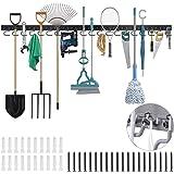 TORACK 64 Inch Garage Hooks Tool Organizer, Adjustable Wall Mounted Garage Hanger Storage System (16 Hooks & 16 Pegs)