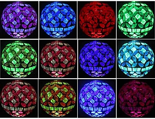 Solar Power Mosaic Glass Pink Ball Garden Light, Color Changing Multi-color Yard Pink Light