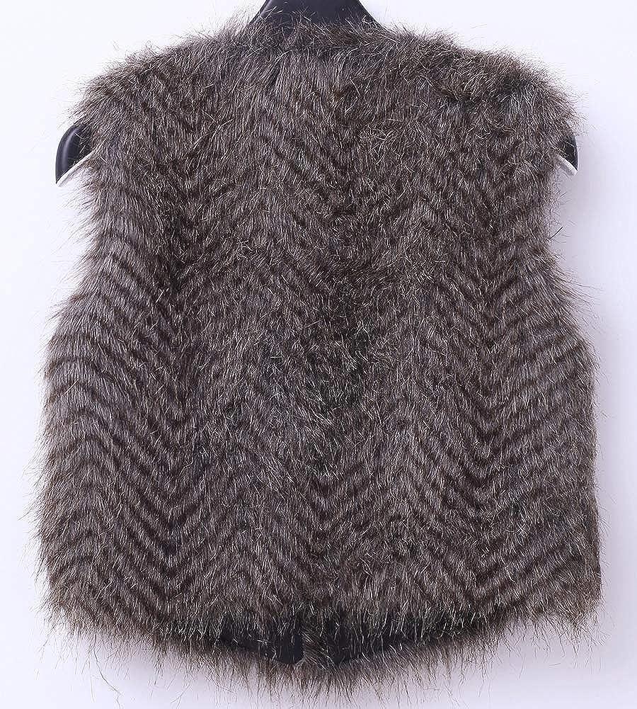 ZhuiKunA Donna Casuale Gilet Corta Giacche di Pelliccia Sintetica Cappotti Senza Maniche