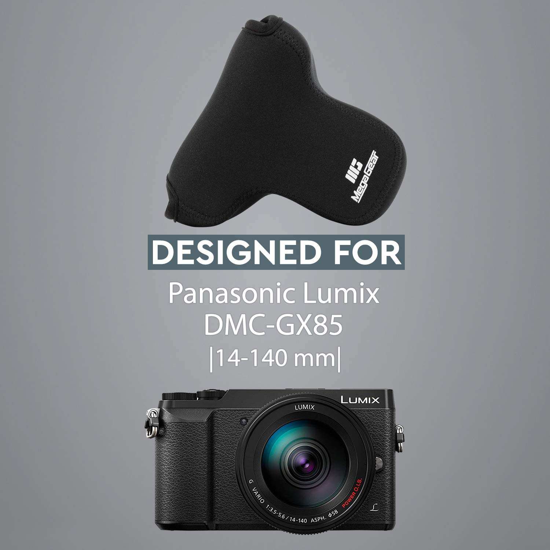 MG739 MegaGear Panasonic Lumix DMC-GX85 GX80 with 14-140mm Lens Ultra Light Neoprene Camera Case Black with Carabiner