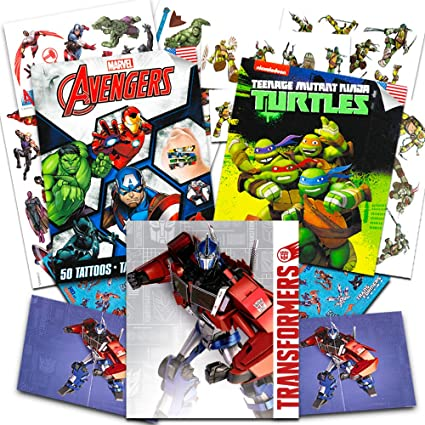 Superhero Temporary Tattoos for Boys Kids Party Bundle -- 125 Licensed Tattoos with Stickers Featuring Transformers, Marvel Avengers and Teenage ...