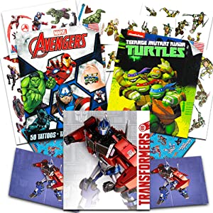 Superhero Temporary Tattoos for Boys Kids Party Bundle -- 125 Licensed Tattoos with Stickers Featuring Transformers, Marvel Avengers and Teenage Mutant Ninja Turtles (Party Supplies)