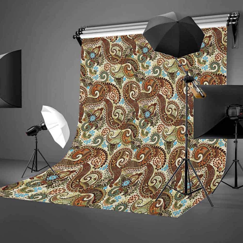 7x10 FT Paisley Vinyl Photography Backdrop,Persian Teardrop with a Curved Tip Motif in a Colorful Culture Pattern Background for Photo Backdrop Baby Newborn Photo Studio Props