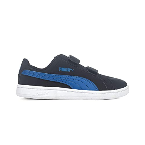 ee9f4933e3a Puma Smash Fun Junior Kids Nubuck Sports Shoe Black Blue - UK 11.5 ...