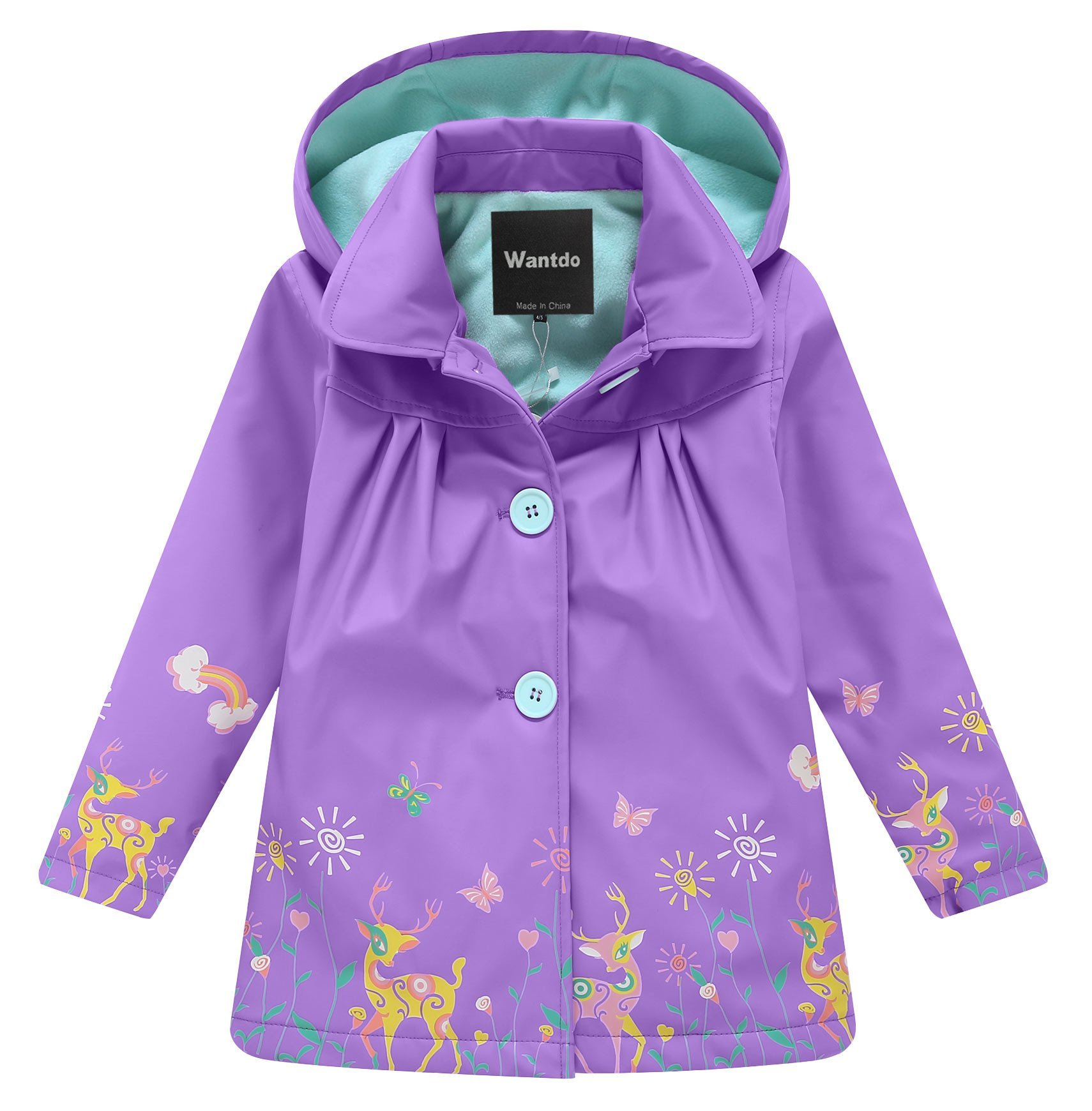 Wantdo Girl's and Boy's Hooded Rain Jacket Windproof Fleece Raincoat(Purple, 7-8Y) by Wantdo