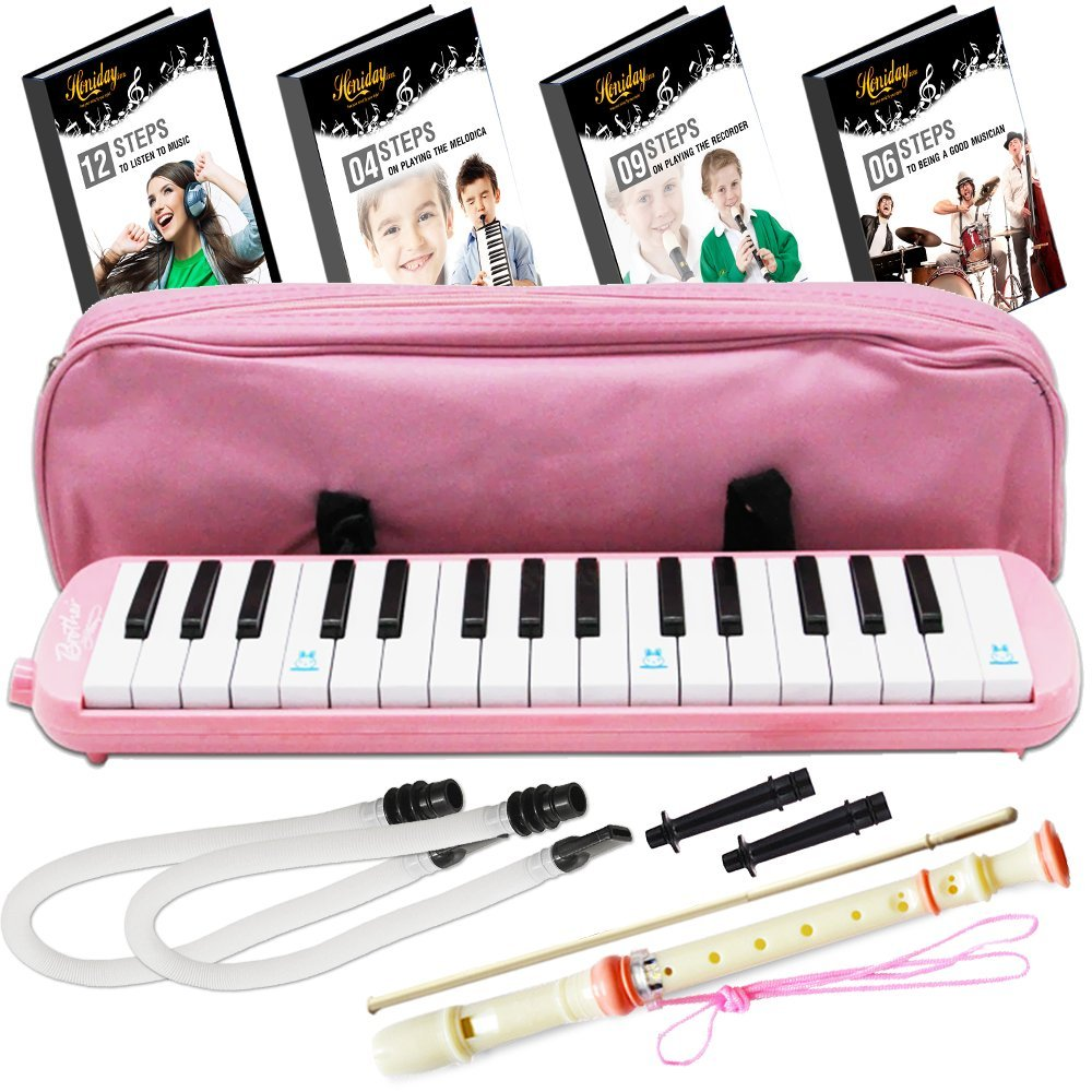 Melodica Keyboard Wind Instrument with Mouthpiece (32-Keys) Beginners Learn to Play Music, Sounds, Songs | Includes Training Ebooks and Soprano Recorder (Pink) by Honiday