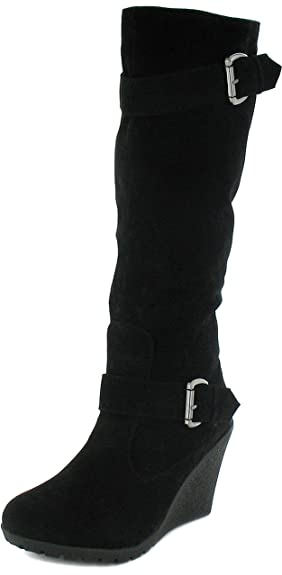 Womens/Ladies Black Long Leg Boots With 8.5Cm Wedge Heels - Black ...