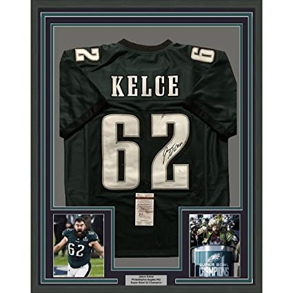 newest bbdad b03fd Signed Jason Kelce Jersey - FRAMED 33x42 Green COA - JSA ...