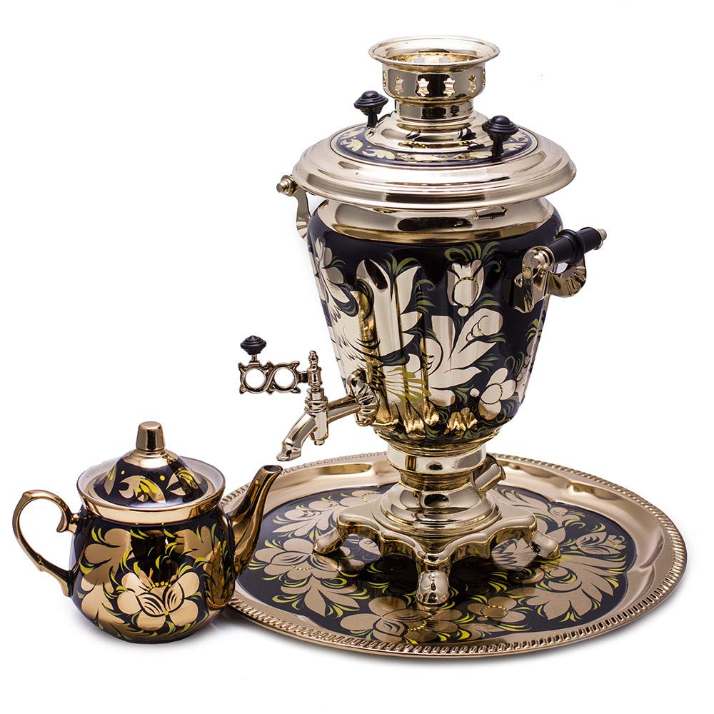 Rooster Electric Samovar Set with Tray & Teapot Russian Samovar by Tula (Image #1)