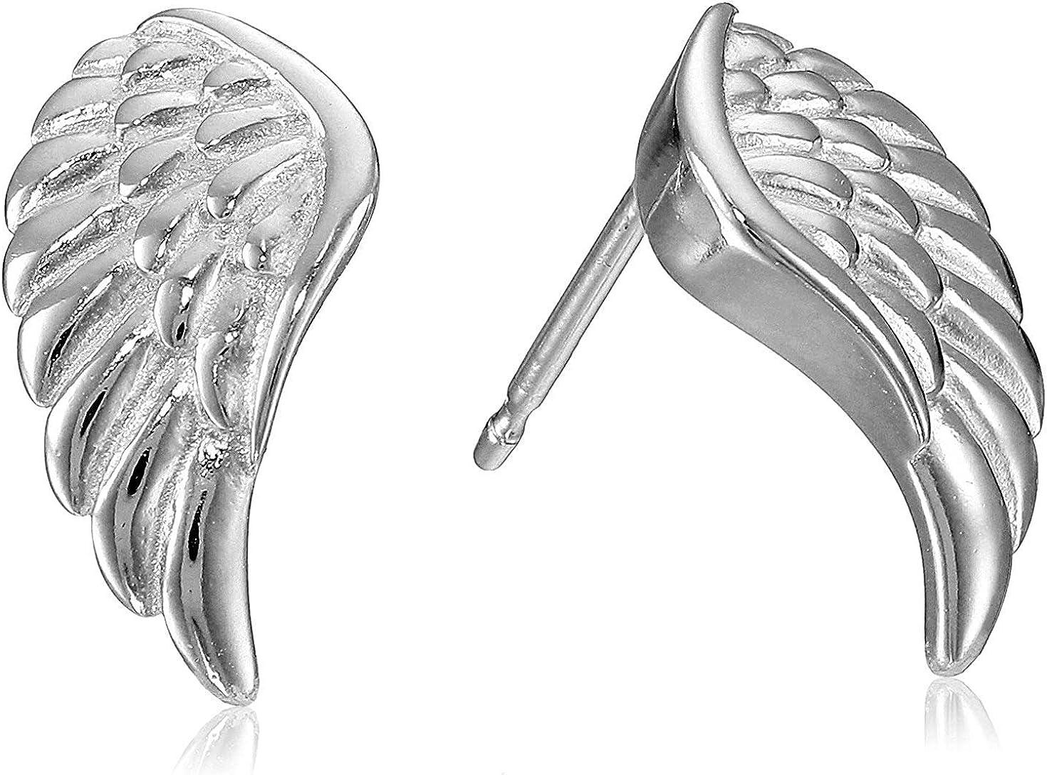 Plated 925 Sterling Silver Angel Wing Stud Earrings