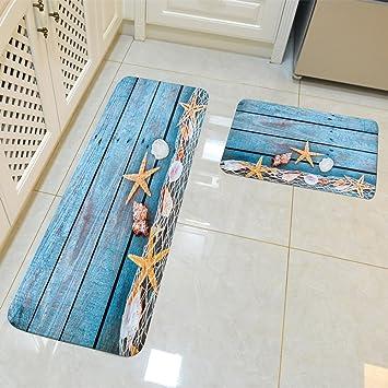 HROOME Moderne Flanell 3D Quadratisch Teppich Läufer Set Antirutschfeste  Fußmatte Bereich Eingang Matte Teppiche Vorleger 2