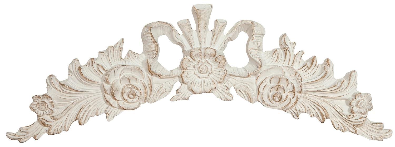 Sopraporta in legno finitura bianca anticato Made in Italy L73xPR4xH26 cm BISCOTTINI