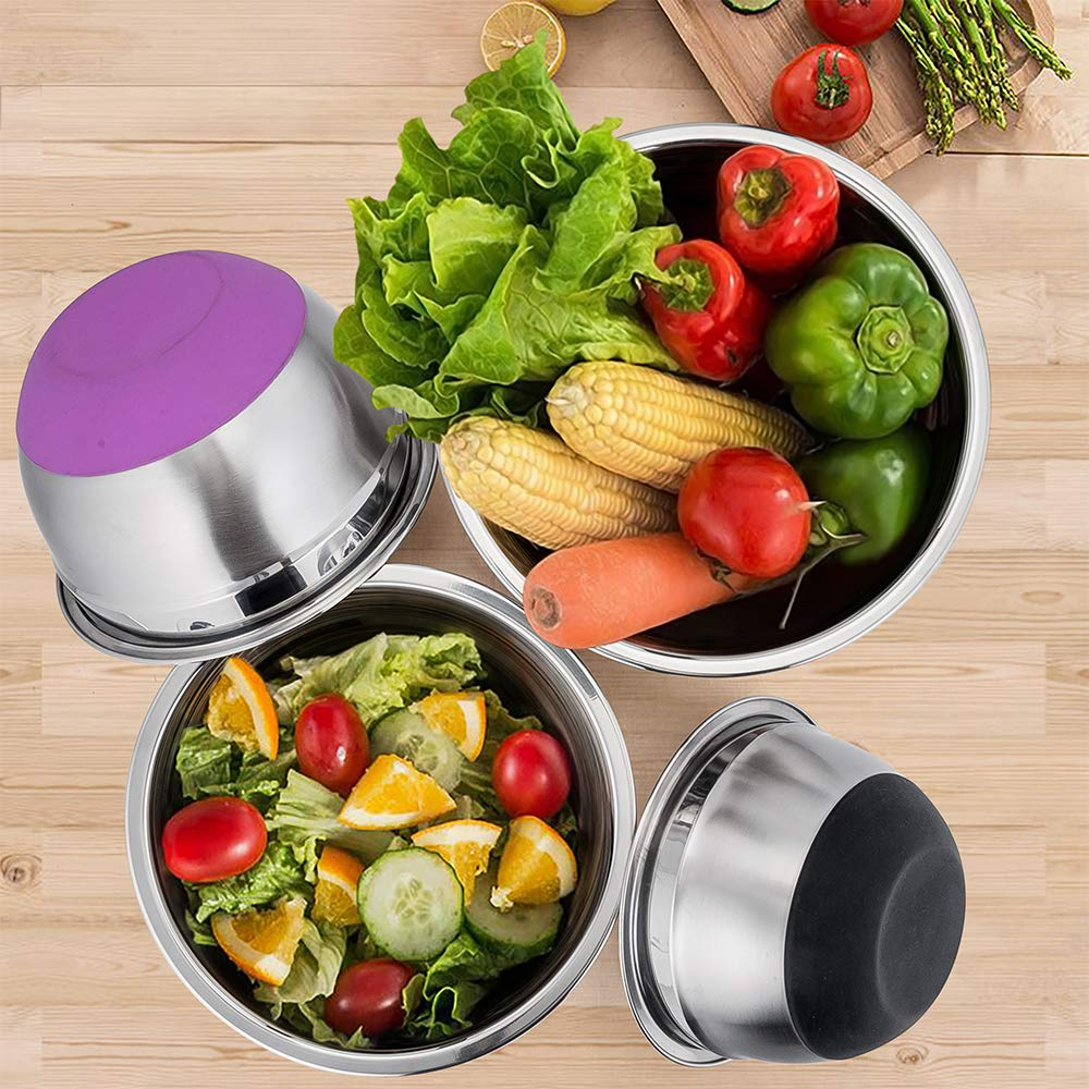 P&P CHEF Mixing Bowls With Lids, Set of 6 (12 Piece), Stainless Steel Nesting Mixing Bowls & Tight Fitting Lids & Non-Slip Silicone Bottom, 6 Multi Size (1/1.5/2.5/3/4/5qt) by P&P CHEF (Image #3)