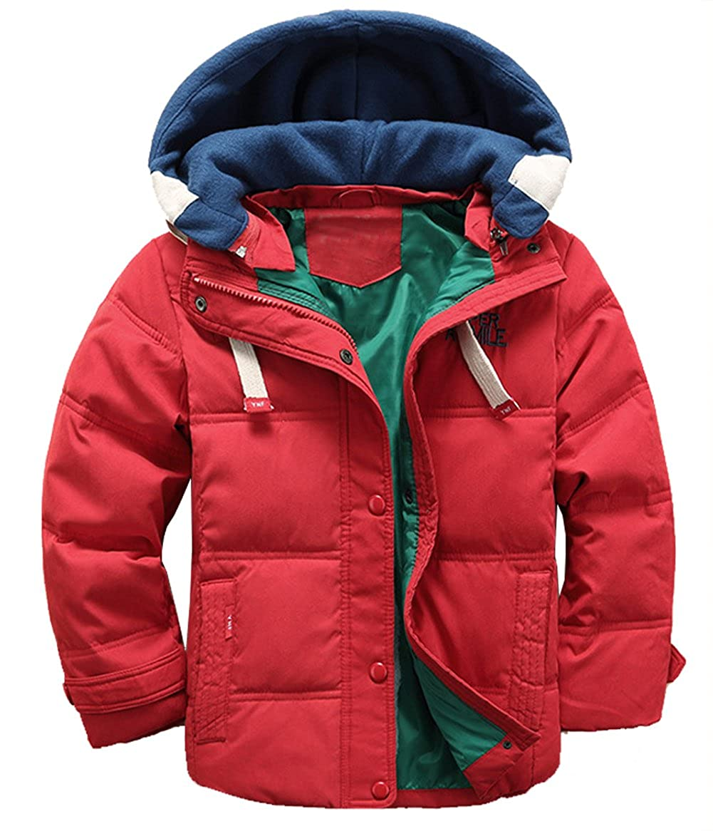 Hotmiss Children Boys Winter Duck Down Thick Hooded Parka Outwear Puffer Jacket
