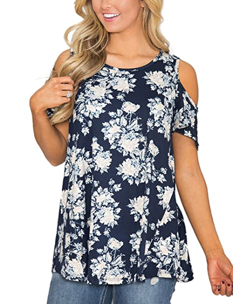 f9d5ac74fd26e5 ACKKIA Women s Navy Casual Floral Print Cold Shoulder Cut Out Short Sleeve  Blouse Shirt Top Size