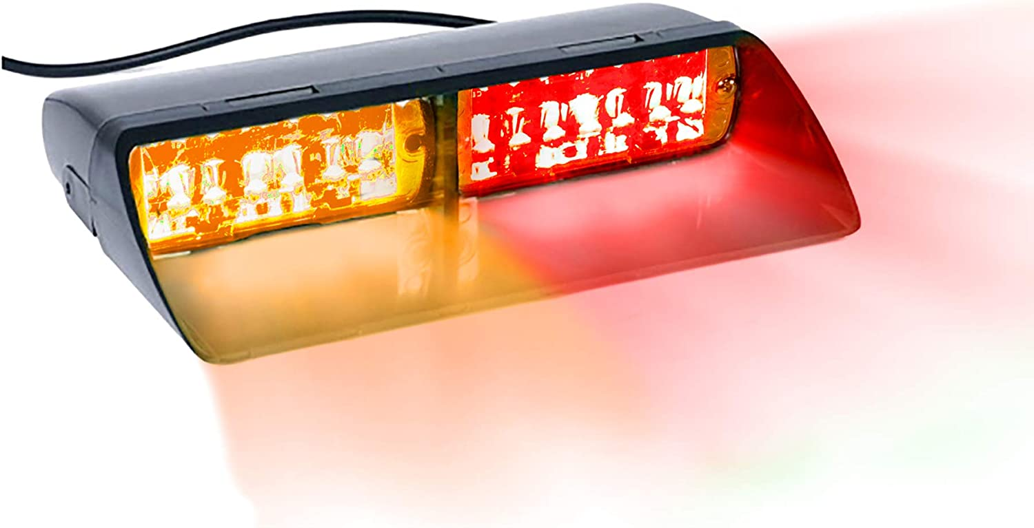 16 LED Emergency Dash Light Dual Rapid Switch Windshield Warning Hazard Safety 17 Flashing Strobe Modes Car Truck Vehicle Law Enforcement Police - Red/Amber
