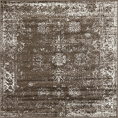 - Unique Loom Sofia Collection Traditional Vintage Brown Square Rug (6' x 6')