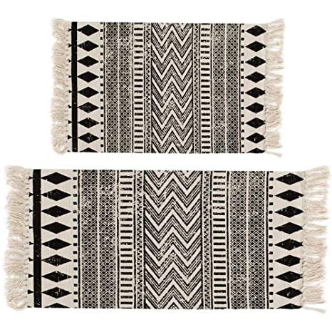 Genial HEBE Area Rug Cotton 2 Piece Set Woven Cotton Area Rugs Runner Machine Washable  Cotton Rug