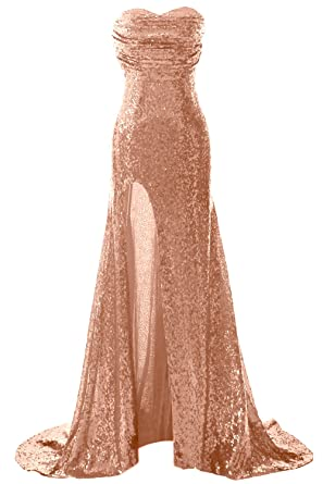 MACloth Gorgeous Sequin Long Prom Dress Mermaid Formal Evening Gown with  Slit (32, Rose
