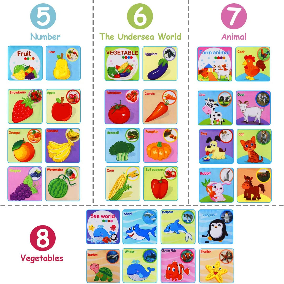 8 Pezzi Libro Stoffa Bambini interattivo Libro Tattile Cognition Libri Tessuto per Bambini neonati