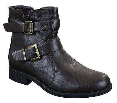 Bottines homme boots noir marron avec boucle et fermeture éclair biker rock  punk emo: Amazon.fr: Chaussures et Sacs