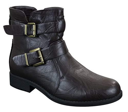 Elong Mens Ankle Boots Black Brown Buckle Belt Zip Biker Rock Punk Emo  Casual: Amazon.co.uk: Shoes & Bags