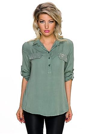 acf0f95377b14a Fashion Damen Bluse Hemd offener Kragen Turn up Ärmel Pailletten Shirt Top  Tunika, oliv