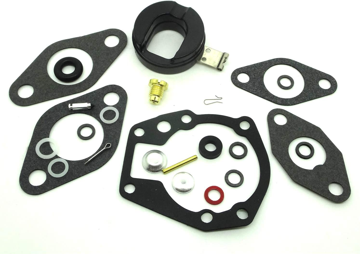 ConPus Carburetor Carb Repair Rebuild Kit with Float for Johnson/Evinrude 1.5 2 3 5 5.5 6 7.5 10 15 18 20 HP 439071 0439071 18-7043 383052 398532