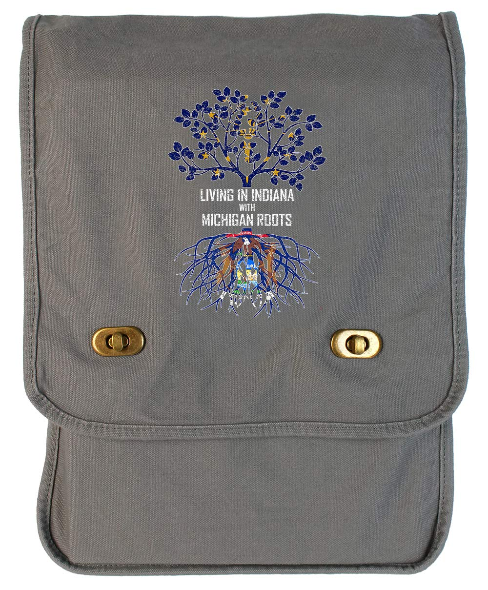 Tenacitee Living In Indiana with Michigan Roots Grey Brushed Canvas Messenger Bag