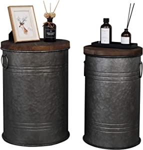 VINGLI Farmhouse Storage Bins Ottoman Stool, Rustic Galvanized Metal décor End Table Nightstand with Wooden Lid Decoration for Living Room Furniture,Set of Two (Dark Grey)